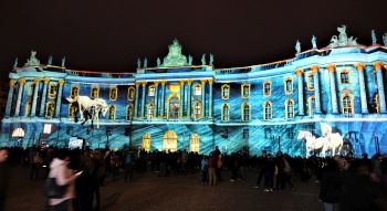 Special lights sightseeing Berlin: illuminated Gendarmenmarkt during the Festival of Lights