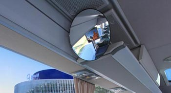 Berlin coach charter: rearview mirror of a BEX Charter coach