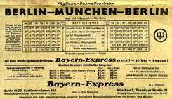 Timetable Berlin-Munich shortly after the Germany's separation